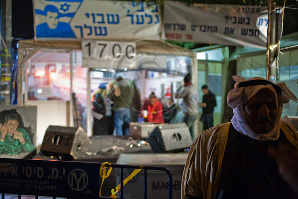 A Bedouin supporter at a rally marking 1,700 days of captivity held at the Shalit family protest tent opposite the PM's residence. Jerusalem, Israel. 19/02/2011.