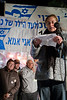 Mother Aviva Shalit speaks at a rally marking 1,700 days of captivity held at the Shalit family protest tent opposite the PM's residence. Jerusalem, Israel. 19/02/2011.