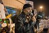 Long time biker and veteran social activist Magen Dahari leads a demonstration under the Azrieli Towers. Tel-Aviv, Israel. 24/02/2011.