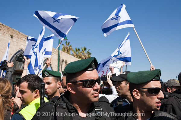 Parliament Member Michael Ben-Ari (Ichud Leumi Party) and extreme right-wing activists Itamar Ben-Gvir and Baruch Marzel lead a Parade of Flags through the mixed city of Jaffa calling for a Jewish Jaffa. Jaffa, Israel. 02/03/2011.