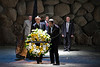 Hall of Names Administrator Alexander Avraham and Foreign Minister of Argentina, Hector Timerman, lay a wreath at Yad Vashem Holocaust Museum. Jerusalem, Israel. 04/04/2011.