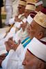 Elderly Samaritan men in prayer prior to the Passover sacrifice. Mount Gerizim, Israel. 17/04/2011.