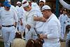 Samaritan men sharpen knives and prepare for the Passover sacrifice. Mount Gerizim, Israel. 17/04/2011.