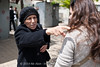 Heated debate breaks out between anti-gender-segregation activists and residents of religious Shmuel Hanavi neighborhood. Jerusalem, Israel. 20/04/2011.