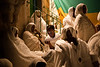 Ethiopian Christians await the Holy Fire ceremony in the  Deir Al-Sultan monastery courtyard on the roof of the Holy Sepulcher Church in Jerusalem.