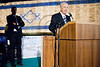 President Shimon Peres speaks at a ceremony beginning the ELEM annual donor drive for youth at risk lighting the Flag Of Hope on the walls of the Old City. Jerusalem, Israel. 27/04/2011.