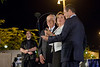President Shimon Peres, Jerusalem Mayor Nir Barkat and ELEM NGO President Nava Barak send an SMS message to light up one of thousands of tiny lamps at kick starting the annual ELEM donor drive for youth at risk. Jerusalem, Israel. 27/04/2011.