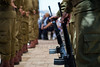 A guard of homor of IDF Paratroopers at a ceremony on the Mount of Olives on Memorial Day.
