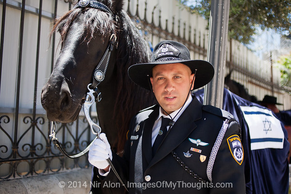 Jerusalem Police horsemen in ceremonious uniform prepare to receive Major General Niso Shacham as new Jerusalem Police District Commander. Jerusalem, Israel. 11/05/2011.
