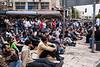 Palestinian men under 45 denied access to Friday prayers at Al Aqsa Mosque assemble at Bab Al-Amud Damascus Gate. Jerusalem, Israel. 13/05/2011.