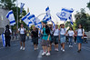 Group of religious Jewish girls march to salute Jerusalem in a colorful parade on the eve of the 44th anniversary of the reunification of Jerusalem under Israeli sovereignty. Jerusalem, Israel. 30 May 2011.