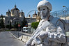 Lone white soldier-actor patrols the Russian Compound and the Holy Trinity church. Jerusalem, Israel. 30 May 2011.