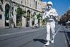 Lone white soldier-actor patrols Jaffa Road. Jerusalem, Israel. 30 May 2011.