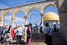 Tourists visit the Dome of The Rock in the Al-Aqsa Mosque compound, Temple Mount. Jerusalem, Israel. 2 June 2011.