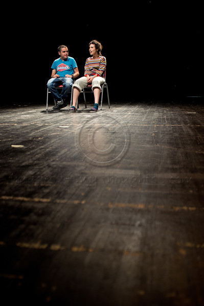 Actors Sharon Broyar and Eyal Sagi on stage in general rehearsal just before launch of Bus Stop in Jerusalem's Creative Special Needs Festival. Jerusalem, Israel. 12 June 2011.