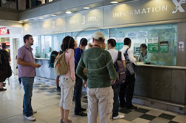"Business as usual for the genral public while an evacuation to shelters is announced in Home Front Command exercise ""Turning Point 5"" at central bus station. Jerusalem, Israel. 22nd June 2011."