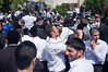Hundreds of religious supporters and right-wing activists conduct what they call a 'reception' for Rabbi Yaakov Yosef, released earlier this morning from police custody on suspicion of incitement in the 'King's Torah' book affair.