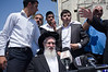 Hundreds of religious supporters and right-wing activists conduct what they call a 'reception' for Rabbi Yaakov Yosef (C), released earlier this morning from police custody on suspicion of incitement in the 'King's Torah' book affair.