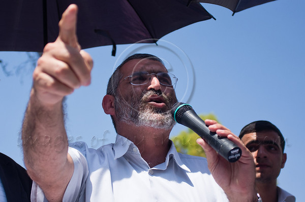 Right-wing MK Michael Ben-Ari speaks to hundreds of religious supporters and right-wing activists conducting what they call a 'reception' for Rabbi Yaakov Yosef, released earlier this morning from police custody on suspicion of incitement in the 'King's Torah' book affair.