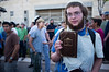 Selling the book 'The King's Torah' at rally for respect and independence of the Torah. Jerusalem, Israel. 4th July 2011.