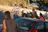 Following a tense Jewish tour of the Simon The Just neighborhood in Sheikh Jarrah, lead by right-wing activists Baruch Marzel and Itamar Ben-Gvir, young Jewish women provoke a 'flag fight' ending with one arrest. Jerusalem, Israel. 11/07/2011.