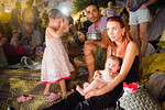 A family takes part in protests at Tent City Menorah Park. Jerusalem, Israel. 26/07/2011.