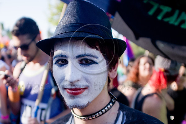 Young man with body painting at  the Jerusalem 10th annual Gay Pride March. Jerusalem, Israel. 28/07/2011.