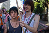 Young homosexual couple take part in the Jerusalem 10th annual Gay Pride March. Jerusalem, Israel. 28/07/2011.