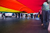Marchers carry a huge colorful flag in the Jerusalem 10th annual Gay Pride March. Jerusalem, Israel. 28/07/2011.