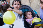 Children with yellow balloons take part in the 'stroller protest' protesting families crumbling due to financial pressures. Jerusalem, Israel. 31/07/2011.