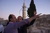 Haj Rajai Sanduka and Mayor Nir Barkat at the Al-Saharah Cemetery prior to shooting the Ramadan canon indicating the end of the daily Ramadan fast. Jerusalem, Israel. 03/08/2011.
