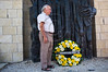 Artist Itzchak Balfour, a survivor of the Holocaust and former orphan cared for by Janusz Korczak lays a wreath at a memorial ceremony for Janusz Korczak. Jerusalem, Israel. 04/08/2011.