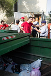 Garbage dumpster at entrance to Hebrew University dormitories building taken over by squatters expecting a forceful police eviction. Jerusalem, Israel. 06/09/2011.