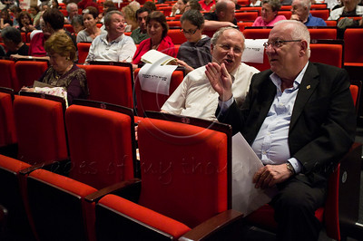 Speaker of the Knesset Reuven (Rubi) Rivlin (R) and Knesset Member Zevulun Orlev (L) are guests of honor at a special evening honoring holocaust survivors who found the strength to testify for prosecution of Adolph Eichmann. Jerusalem, Israel. 07/09/2011.