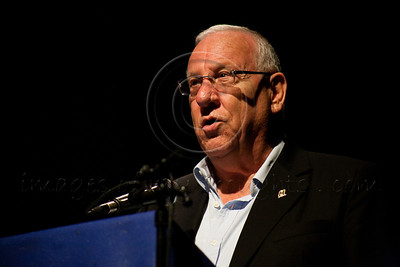 Speaker of the Knesset Reuven (Rubi) Rivlin addresses the audience in a special evening honoring holocaust survivors who found the strength to testify for prosecution of Adolph Eichmann. Jerusalem, Israel. 07/09/2011.