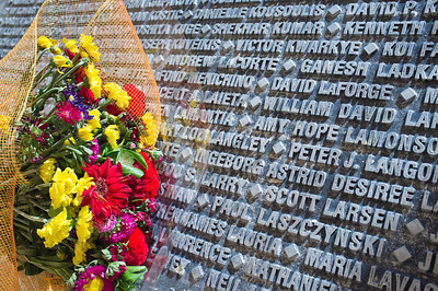 The names of all 9/11 victims are engraved at the base of a monument  donated by JNF-USA and designed by Israeli artist Eliezer Weishoff. Jerusalem, Israel. 11/09/2011.
