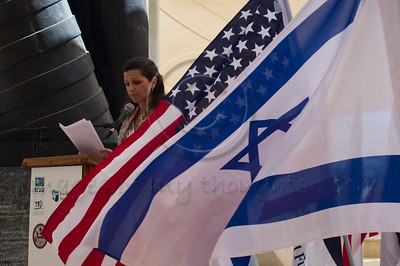 Ms. Sigal Shefi-Asher, addresses the audience on behalf of the Israeli victim families at a ceremony marking a decade since the 9/11 attacks. Jerusalem, Israel. 11/09/2011.