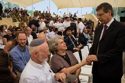 Israeli Deputy Foreign Minister, Danny Ayalon, consoles the family of an Israeli victim of the 9/11 attacks. Jerusalem, Israel. 11/09/2011.