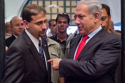 Israeli Prime Minister Benyamin Netanyahu (R) and US Ambassador to Israel Daniel Shapiro (L) at a ceremony marking a decade since the 9/11 tragedy. Jerusalem, Israel. 11/09/2011.