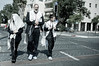A religious father leads his sons home following prayers in synagogue on Yom Kippur. Jerusalem, Israel. 08/10/2011.