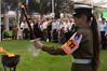 IDF military policewoman carries a torch at a ceremony in memory of lives lost in the 1973 Yom Kippur War at the  Mount Hertzel Military Cemetery. Jerusalem, Israel. 09/10/2011.
