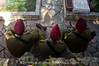 Three IDF paratroopers in red berets at the Mount Hertzel Military Cemetery at a ceremony in memory of lives lost in the 1973 Yom Kippur War, 38 years ago.  Jerusalem, Israel. 09/10/2011.