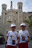 "Brothers Francesco, 9, (L), and Ricardo, 10, (R), of Milano proudly finish the 8th 10Km John Paul II Bethlehem-Jerusalem Peace Marathon at Notre Dame. When asked how it went they replied ""Difficult!"". Jerusalem, Israel. 24/10/2011."