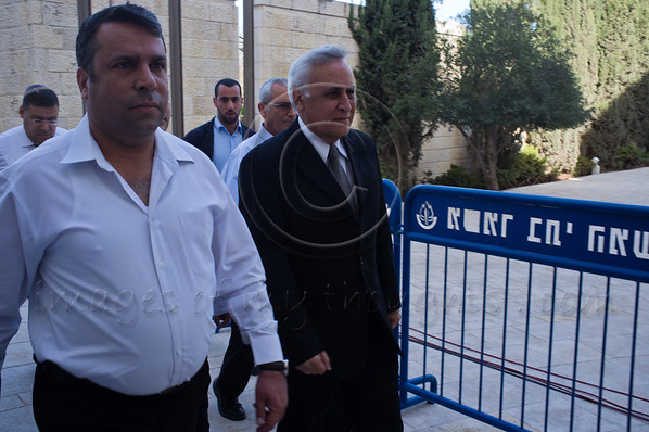 Convicted 2-count rapist and sex offender, former president of Israel, Moshe Katzav (right) arrives at Supreme Court to hear decision on his appeal. Jerusalem, Israel. 10th November 2011.