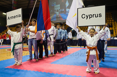 The 2011 European Traditional Karate Championship opening ceremony takes place with some 170 athletes from 15 countries in an event hosted by the Traditional Karate Federation of Israel. Jerusalem, Israel. 17th November 2011.
