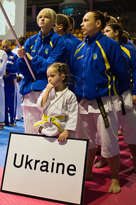 Ukrainian team takes part in the 2011 European Traditional Karate Championship opening ceremony hosted by the Traditional Karate Federation of Israel. Jerusalem, Israel. 17th November 2011.