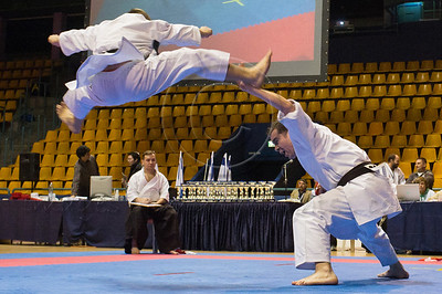 Athletes perform choreographed En-Bu Kata before judges at the 2011 European Traditional Karate Championship hosted by the Traditional Karate Federation of Israel. Jerusalem, Israel. 17th November 2011.