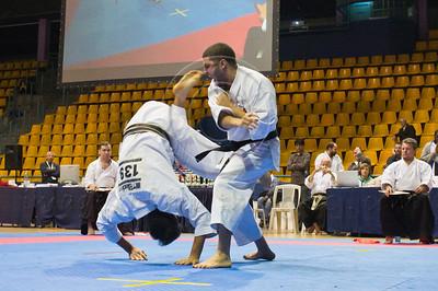 Athletes perform choreographed En-Bu Kata before judges at the 2011 European Traditional Karate Championship hosted by the Traditional Karate Federation of Israel. Jerusalem, Israel. 17th November 2011.