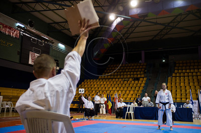Dovile Aladaityte of the Lithuanian team is awarded points for a performed kata by judges at the 2011 European Traditional Karate Championship hosted by the Traditional Karate Federation of Israel. Jerusalem, Israel. 17th November 2011.