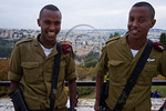 Two Ethiopian IDF soldiers of the Paratroopers Brigade pose for a photo at the Sigd Holiday celebrations, symbolizing their yearning for Jerusalem, at the Sherover Promenade overlooking the  ...